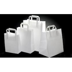 Buste shoppers con maniglia piatta colore bianco